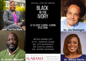 black in the ivory graphic showing panelists and moderator