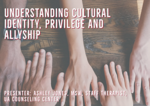 flyer for understanding cultural identity, privilege and allyship