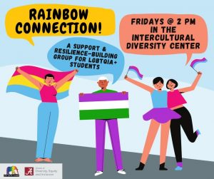 Rainbow Connection Fridays at 2 p.m. in the Intercultural Diversity Center