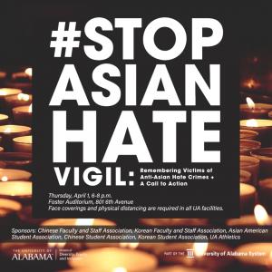 #StopAsianHate Vigil April 1 at 6 p.m. in Foster Auditorium