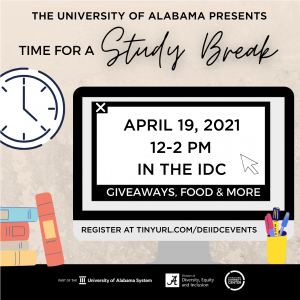 Study Break activity April 19 from noon to 2 p.m. in the Intercultural Diversity Center. Register at tinyurl.com/DEIIDCevents