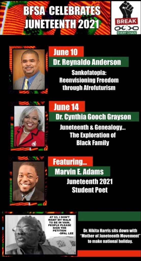BFSA Celebrates Juneteenth 2021 flyer with photos of speakers