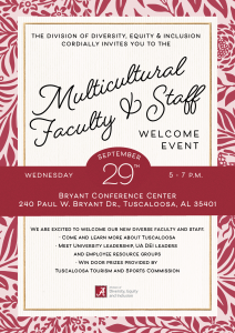 Multicultural Faculty and Staff Welcome Sept. 29, 5-7 p.m. Bryant Conference Center